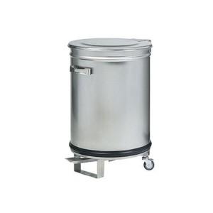 BALDE LIXO INOX COM RODAS E PEDAL 46X70 100LT