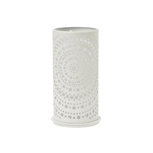 PORTA VELAS METAL BRANCO 140X75MM